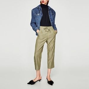 Zara Pants - Striped culottes with bow